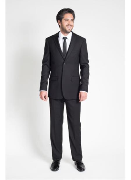 Men's 2 Button Black Slim Fit Suit