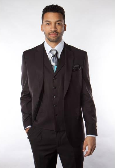 Men's Solid Black 3 Piece100% Wool Vested Suit
