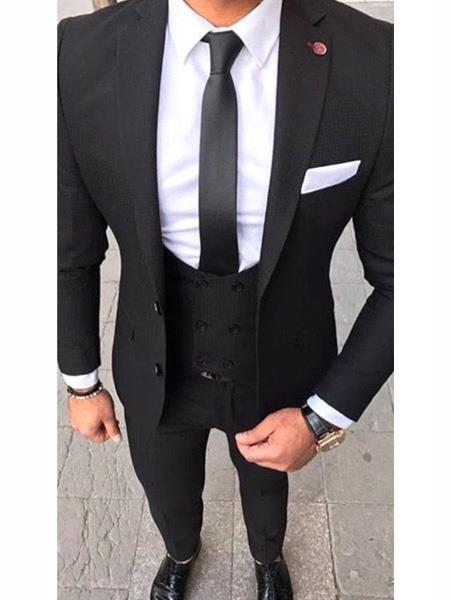 Buy MO582 Slim Fit 2 button Black Suit Double Breasted Vest White Dress Shirt & Black tie