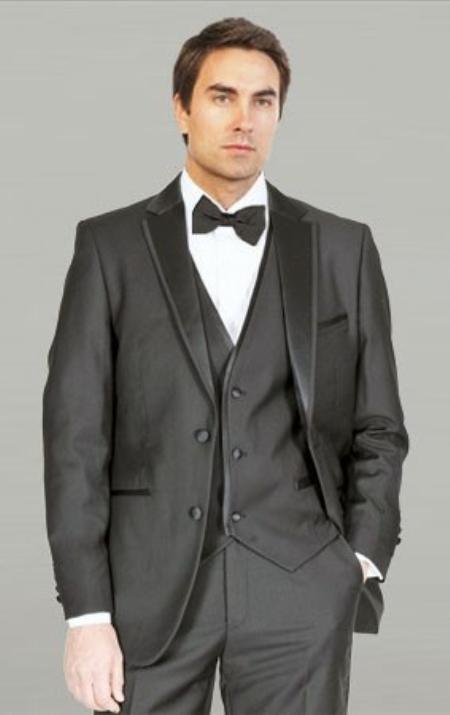 SKU#YAN231 Black Framed Notch Lapel with Vest Microfiber Tuxedos