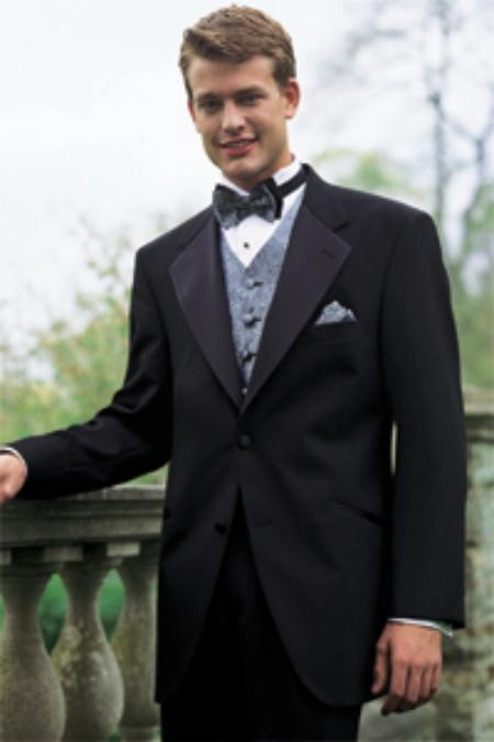 SKU#VTXPW Tuxedo Package Super 140S Wool 2 Button Tuxedo Suit + Your choice of Any Color Vest, Shirt, Tie