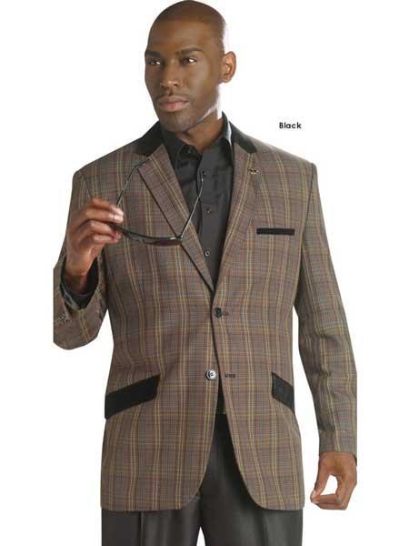 Mens Windowpane Plaid Pattern 2 Button Blazer Sport Coat Jacket Slanted Pocket Black