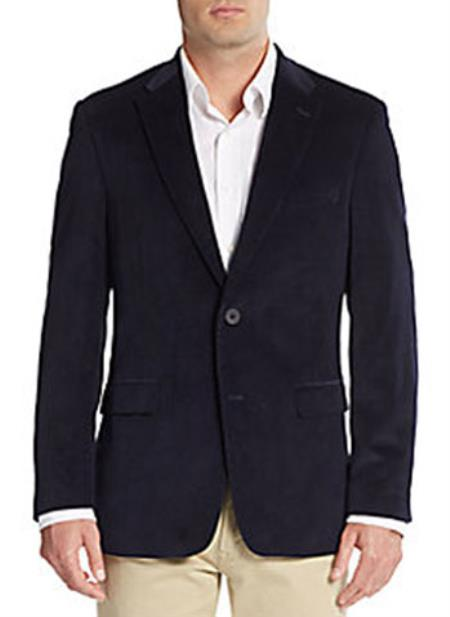 Men's Two Button Front Regular Fit Corduroy Blazer Navy