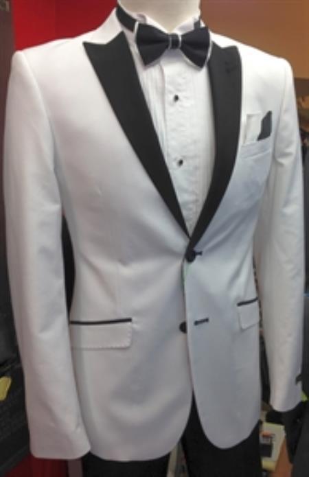 Men's White Suit with White Peak Lapel Slim Fit