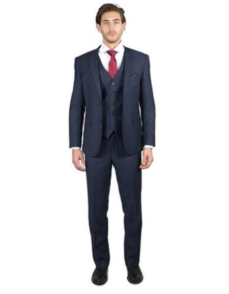 Men's 2 Button Three Piece TR Blend Suit Affordable - Discounted Priced On Clearance Sale