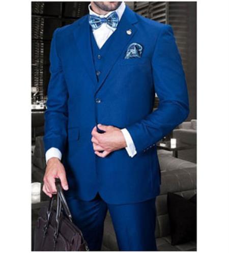 Statement Confidence Mens Sapphire Blue 3 Piece 2 Button Italian Designer Fine Brands Best Italian Style Cut Suits