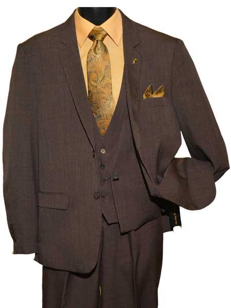 Brand: Falcone Suits Mens Two Button Dark Brown  Vested Suit