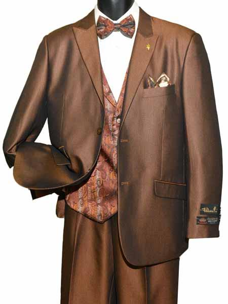 SM1419 Men's Peak Lapel 2 Button Single Breasted Brown Vested Adjustable Tie Suit