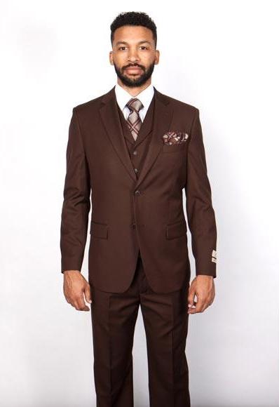 Men's Brown 100% Wool  5 Button Vested Suit