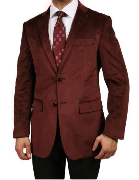 Cheap Priced Online Burgundy ~ Maroon Blazer - Sport Coat ~ Wine Color Luxurious Velvet Highlights Men's blazer