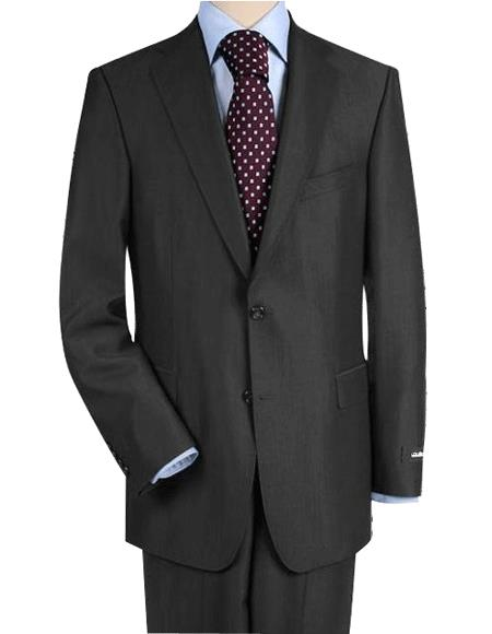 High-Quality Construction Two-Button Darkest Charcoal Gray Suit