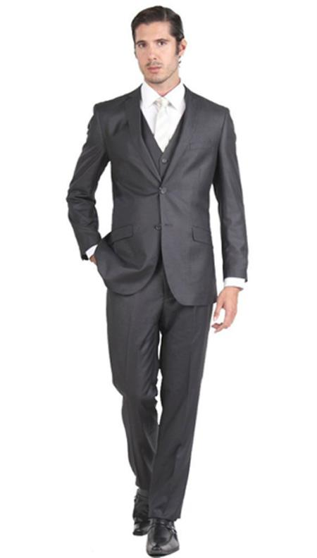 Mens Cheap Priced Business Suits Clearance Sale Two Button Vested 3 Piece Skinny Lapel Slim Fit Charcoal