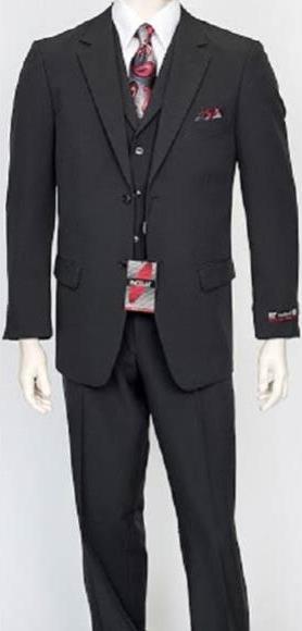 Men's 3 Piece Poly Poplin Charcoal Matching Vest Dress Suit Wth Pleated Pant