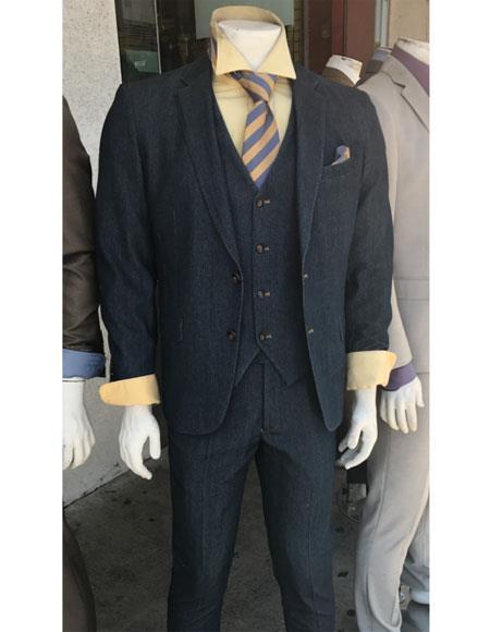 Vitali Denim Blue Color Suit Fabric 2 Button Suit Vested Flat Front Pants (Jacket Blazer + Vest + Pants)
