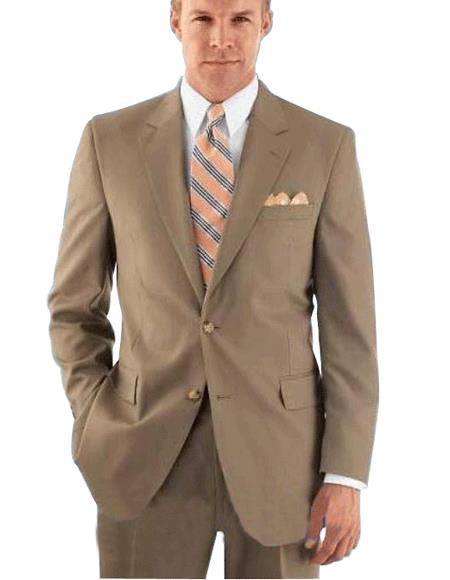 Mens Modern Tan ~ Beige 2-Button With Double Vent Flat Front Pant Rayon Fabric On Sale Online