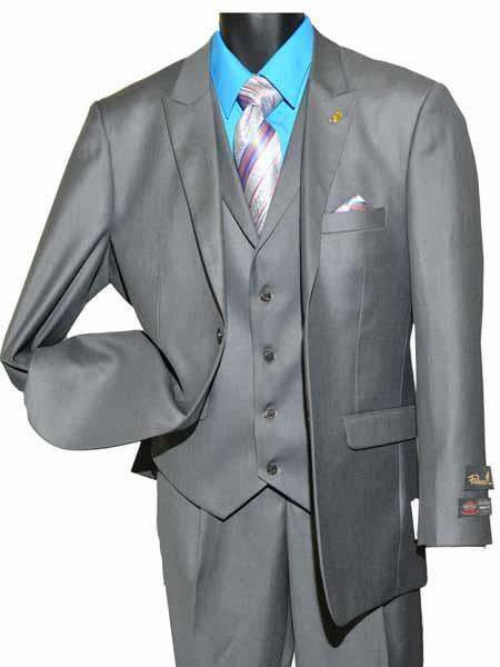 Buy SM1412 Men's Two Button Single Breasted Gray Peak Lapel Vested Suit
