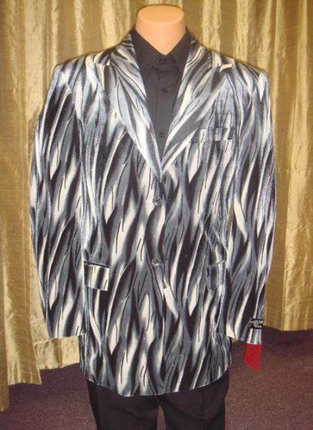 Mens Flame Jacket/Blazer in Black/Gray