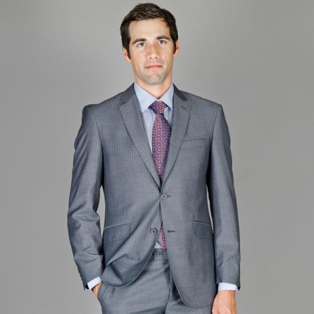 Slim Fit Grey Stripe