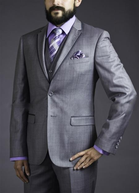 Slim Fit Suit Tapered Leg Lower rise Pants & Get skinny Two Button Three Piece Grey Sharkskin Suit with Contrast Taping