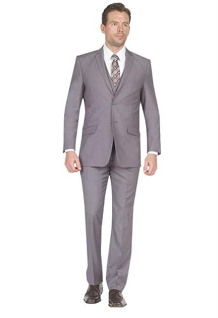 Mens Suit Two Button Vested 3 Piece Skinny Lapel Slim Fit Grey  - Three Piece Suit