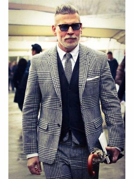 Men's Two Button  houndstooth checkered ~ Glen checkered check pattern Designed Grey Vested Suit