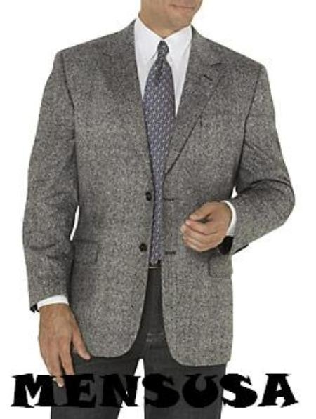 SKU# CAD394 Mens Two Button Harwick Famouse Herringbone Gray & black Pattern Blazer $195