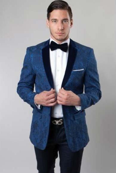Men's Floral Pattern Slim Fit 2 Button Solid Velvet Cheap Priced Designer Fashion Dress Casual Blazer On Sale Navy Blazer Sport coat