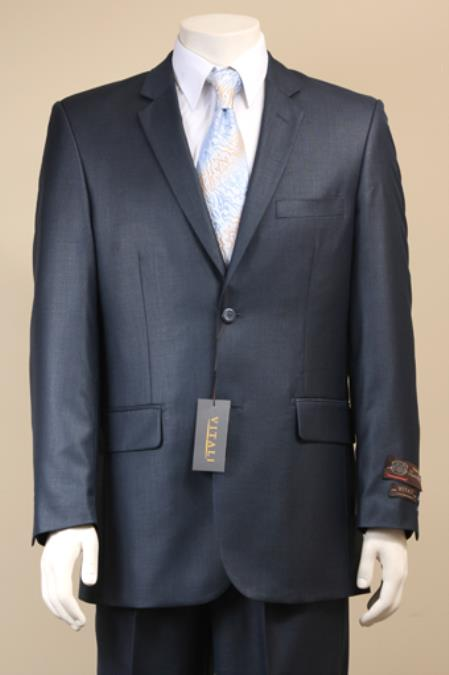 Mens 2 Button Textured Mini Weave Patterned Shiny Sharkskin Dark Navy Suit
