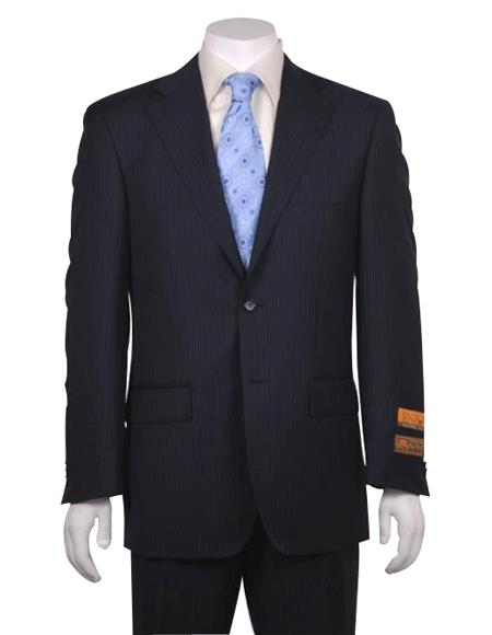 Men's Flat Front Super 150's Wool Poly~Rayon Dark Navy Stripe Modern Fit 2 Button without pleat Cheap Priced disc