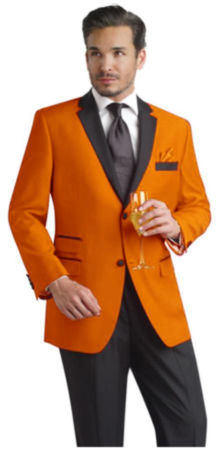 Orange Two Button Notch Suit & Fashion Tuxedo For Men & Blazer W/ Black Lapel + Pants Dinner Jacket  Velvet Fabric