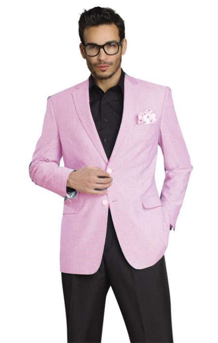 Mens Stylish Two Button Jacket Pink Blazer Sport Coat
