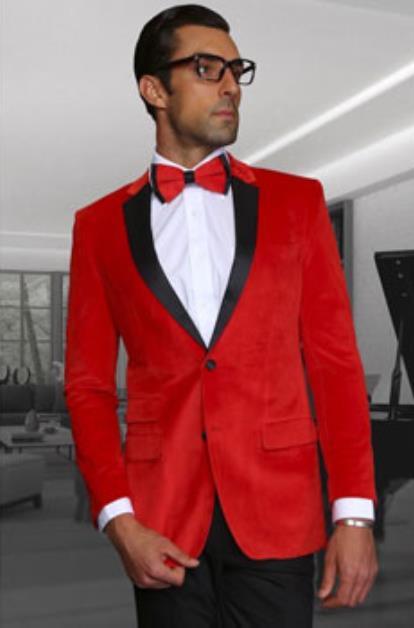 Men's Red  Velvet Fabric Black Lapeled Tuxedo Discounted Cheap Priced velour Blazer Jacket For Men Sportcoat Jacket  on Sale - Red Tuxedo