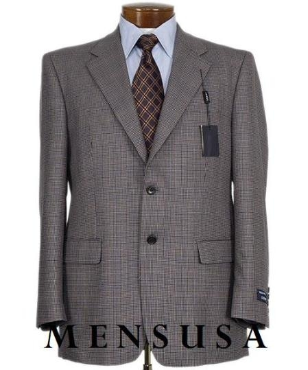 SKU# QAY534 260-6 Mens Two Button Sharskin Harwick Shark Skin Checkers Gray & black Pattern Blazer $139