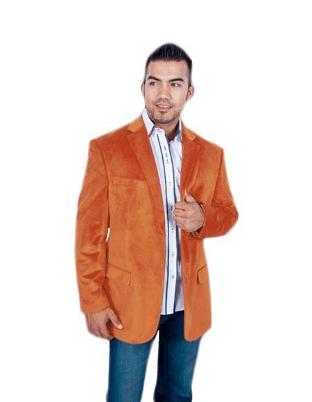 Mens Stylish 2 Button Orange Discounted Affordable Velvet ~ Velour Sport coat