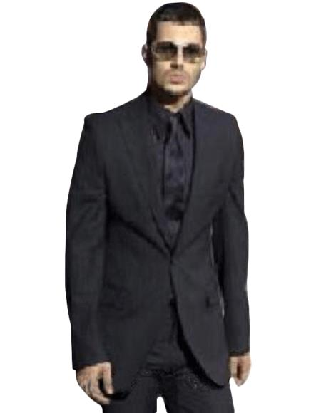 Cool Light Weight Black Two Button Taper Slim Cut + Black Shirt & Tie As Seen in The Picture
