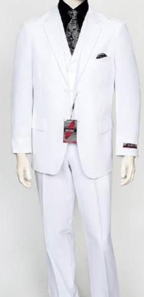Men's White 3 Piece Poly Poplin Fabric Matching Vest Dress Suit Wth Pleated Pant
