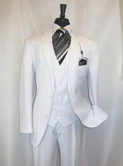 Vinci Men's Shadow Stripe Style Two ButtonsWhite Vested Suit