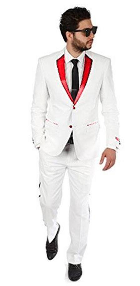 2BW2 white with red lapel