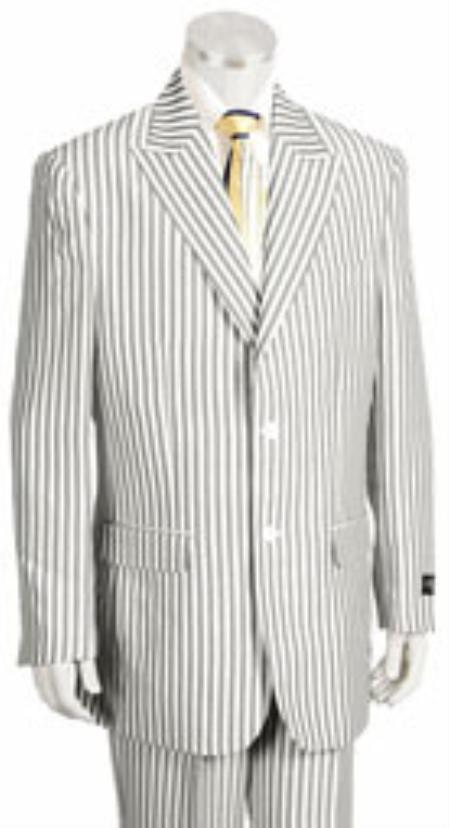 Mens Polye/Viscose Rayon 2 Button Pleated Pants Jacket ~ Pinstripe Charcoal sear sucker suits