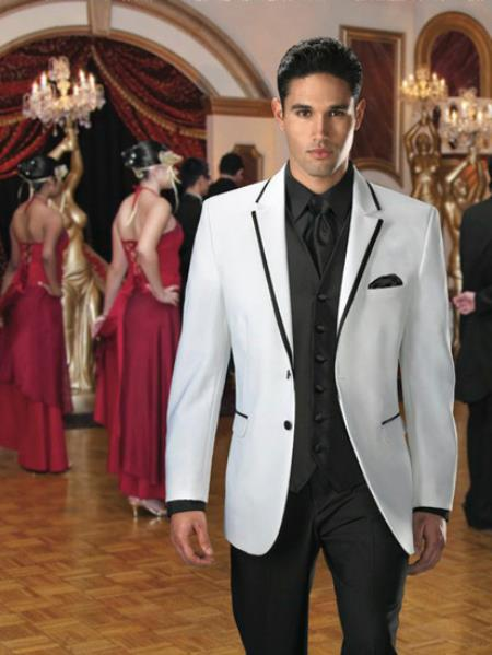 2 Button White Suit or Tuxedo & Blazer With Black Edge Tr