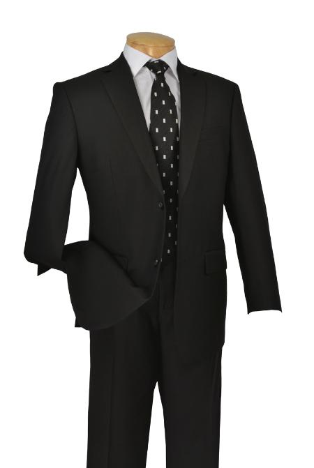 D62T2TRHNA31 Poly-rayon Executive Pure Solid Black Suit Notch Collar Pleated Pants