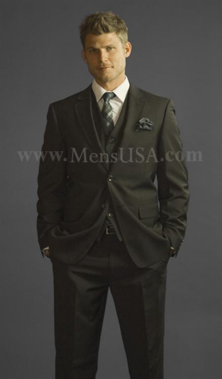 2 Button 3 Piece Black Pinstripe Fitted affordable suit online sale