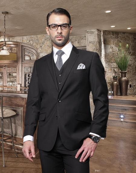 2 Button Black Suit with a Vest Super 150's Italian Wool Pick Stitched Lapel Slanted Pocket - Three Piece Suit