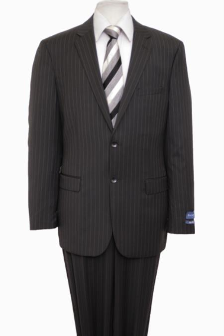 Reg Price $795 ZeGarie Authentic 100% Wool Suit 2 Button Side Vent Jacket Flat Front Pants Wool Classic Pinstripe Black