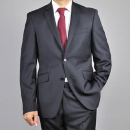 Men's Slim-fit  Black Wool Suit