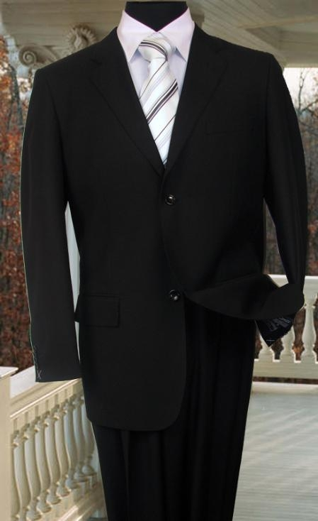 SKU#AS234 TS-02S MENS SOLID COLOR BLACK SUIT 2 BUTTON HAND STITCHING