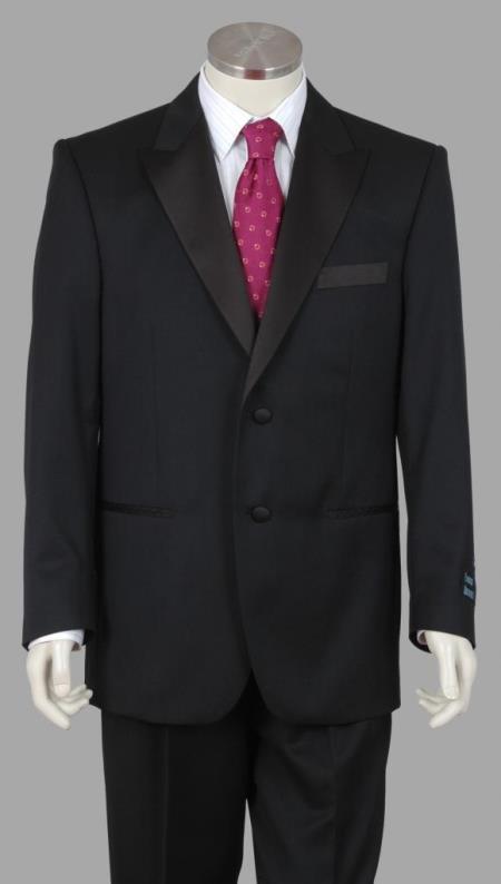 Enrico Brindisi Italian Style 2 Btn Super 150 Wool Tuxedo Pleated Pants Black