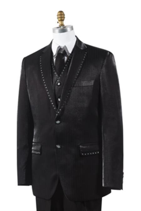 Black Unique Trimmed Pleated Pants Vested 3 Piece Suits