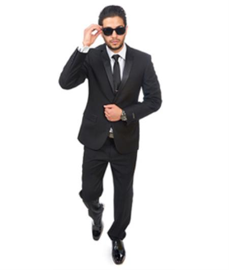 Slim Fitted Skinny Tapered Mens Slim Fit 2 Button Notch Lapel Tuxedo Black