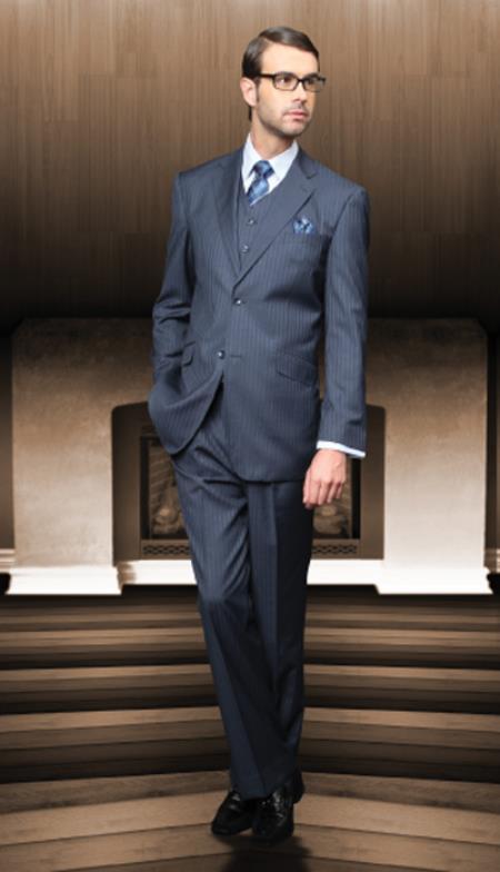 Classic 3pc 2 Button Blue Suit Super 150s 1 Pleat Pants Italian Fabric